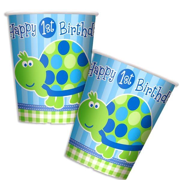 1.Birthday Becher Schildkröte 8 Stk., Pappbecher für 1. Kindergeburtstag