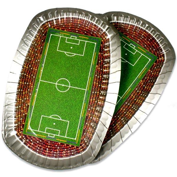Fußballstadion Teller oval, 27×18cm, 8 Pappteller mit silbernem Rand