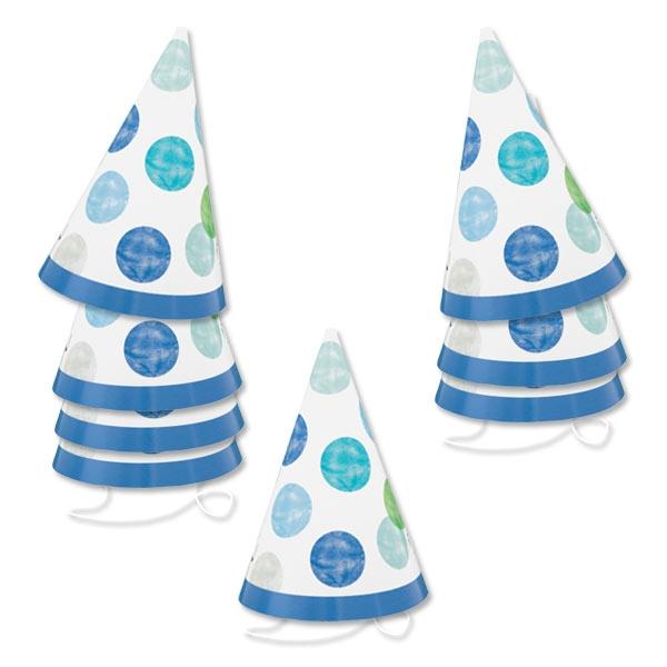 BLUE DOTS Mini Partyhütchen 8er Pck, 10,5cm