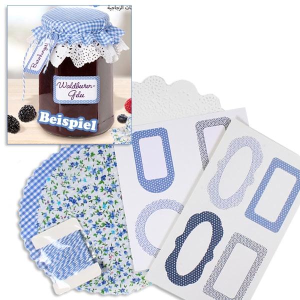 Einmachglas-Dekoset, Blau, für hochwertig verzierte Einweggläser zum Schenken