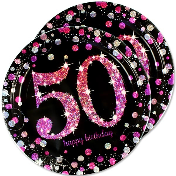 Sparkling Celebr. Pink Teller zum 50sten, 8er Pck., 23cm