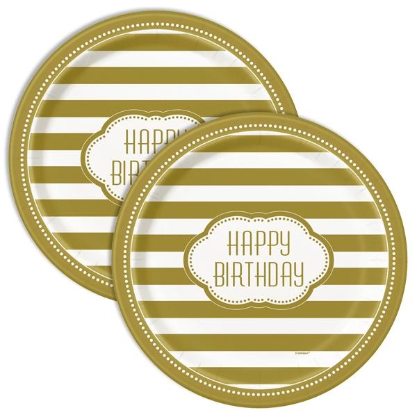 Partyteller Goldene Zeiten, 8 Stk, 22cm, Happy Birthday Einwegteller