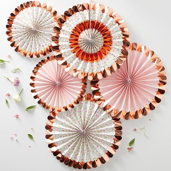Floral gemusterte Fächerblumen in rosegold, 5 Stück