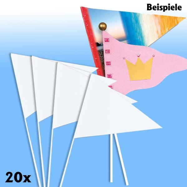 Papierfähnchen, Wimpel, Stablänge 40cm Schenkellänge 27cm, 20 Stück, weiß, zum Bemalen