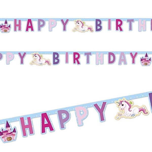 Süßes Einhorn Partykette HAPPY BIRTHDAY, 1,8m, hübsch bedruckte Pappe
