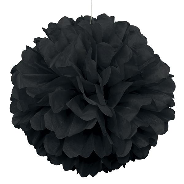Puffball schwarz Papier 40cm, 1Stk. als Hängedeko für Ihre Party