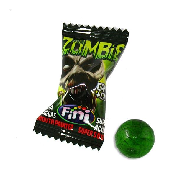 1 Zombie Bonbon, grüner Zungenmaler, sauer, mit Kaugummi, 5g