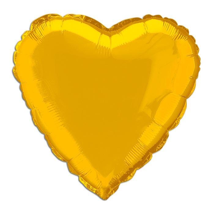 Folienballon goldenes Herz, 35cm für Goldkinder zum besonderen Jubiläum