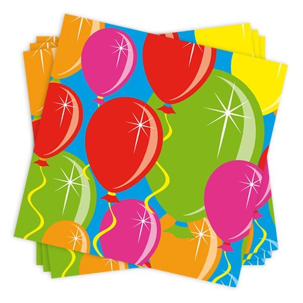 Geburtstagsparty Papierservietten für Ballonparty, 25x25 cm, 20er-Pack