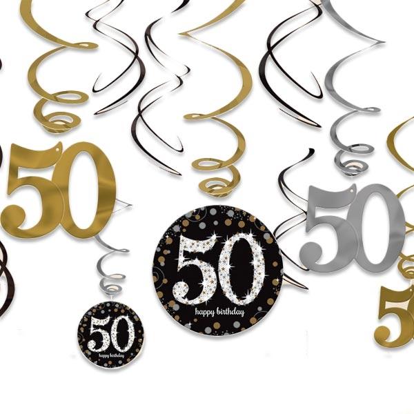 Sparkling Celebr. Spiralen Zahl 50 golden-silbern, 12-tlg.