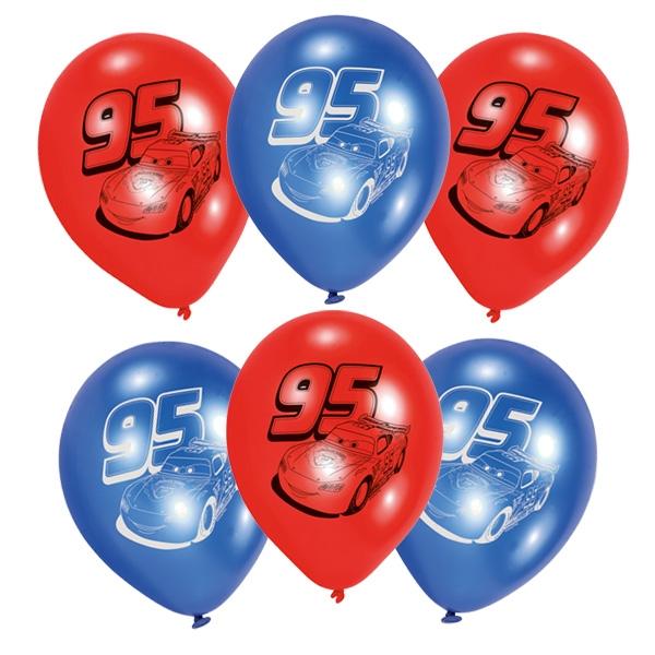 Cars Luftballons, 6 Stk, Ø 22,8cm, Latexballons mit Lightning McQueen