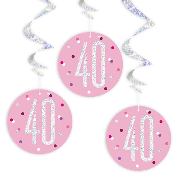 Glitzer-Spiralen, Zahl 40, in Pink, 6-teilig