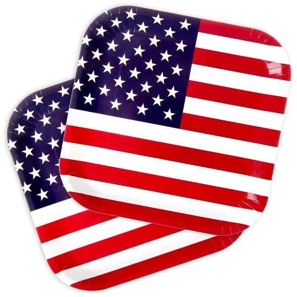 USA Partyteller im Stars & Stripes-Design, Pappteller,10 Stk, 23cm