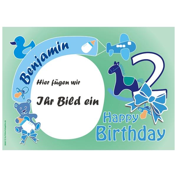 Fototorten Auflage zum 2ten Geburtstag Jungs +Name+Alter, ZA4
