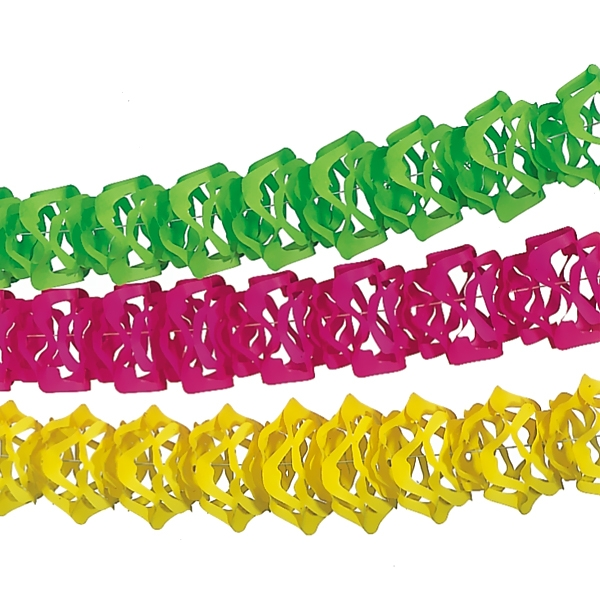 Girlanden Set in Neonfarben, 3er, jeweils 4m lang