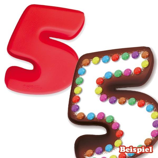 Zahlenbackform Zahl 5 aus Silikon