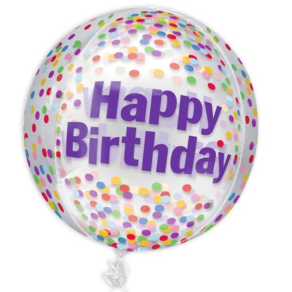 "Kugelrunder Folienballon ""Happy Birthday"" mit Konfetti-Design, Ø 38cm"