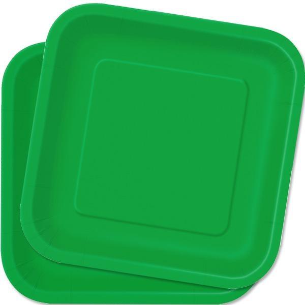 Eckige Teller smaragdgrün 14 Stück quadratische Partyteller, Pappe,23cm
