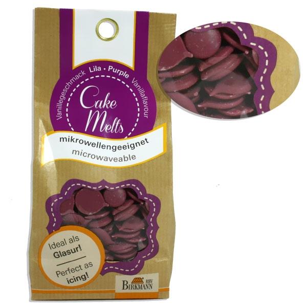 Glasur Cake Melts in Lila, 250 g für Kuchen, Muffins oder Cake Pops