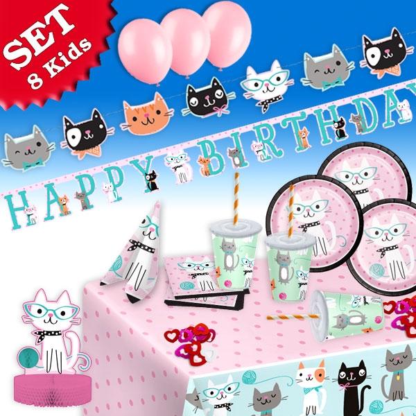 Kätzchen Partyset, 8 Kids, 75-tlg., mit Pappgeschirr, Tischdecke, Ballons...