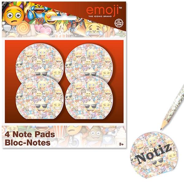 Emoji Notizblöcke rund, mit vielen lustigen Smileys, 4er Pack, 5cm