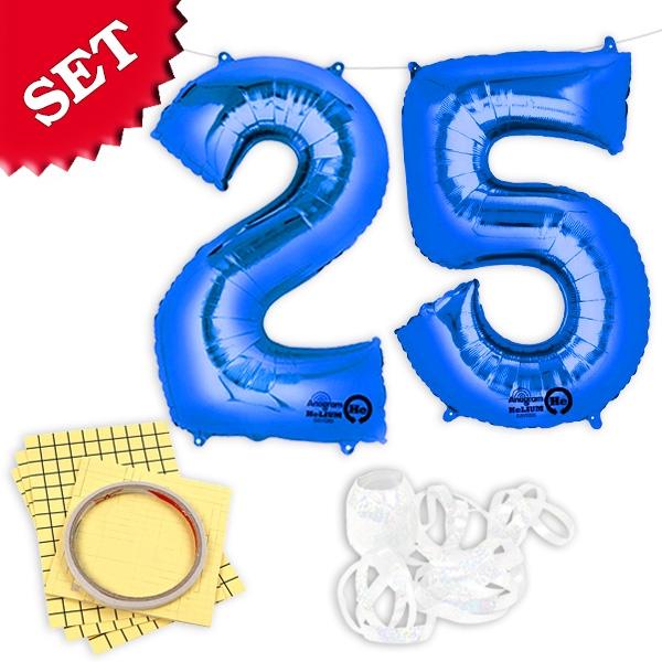 "XXL Folieballons Zahl ""25"", blau"