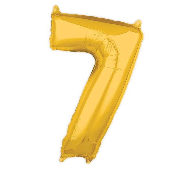"Zahl ""7"", Folienballon in gold, 43 x 66cm"