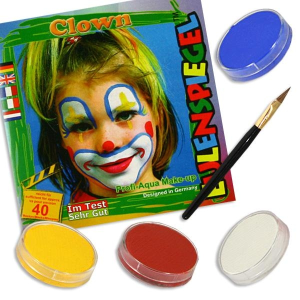 Kinderschminke-Set Clown, witziges Motiv, Profi-Aqua, 4 Farben+Pinsel