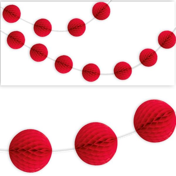 Wabenball Girlande, rot, hübsche Wabendeko für alle Partys, 2,13m