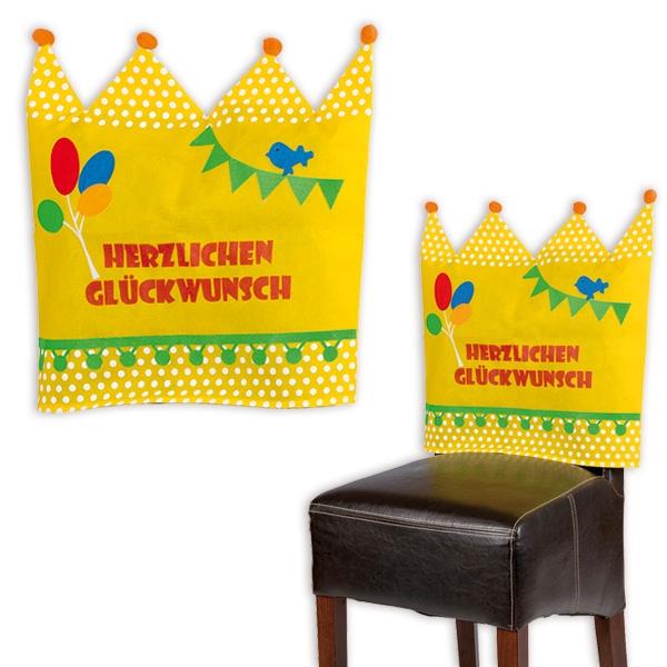 """Stuhlhusse als Krone mit Schrift """"Herzlichen Glückwunsch"""", Vlies, 50cm"""