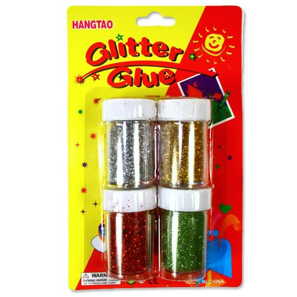 Glitzerpulver 4 Döschen, Glitzerpuder zum Basteln: Silber, Gold, Rot, Grün