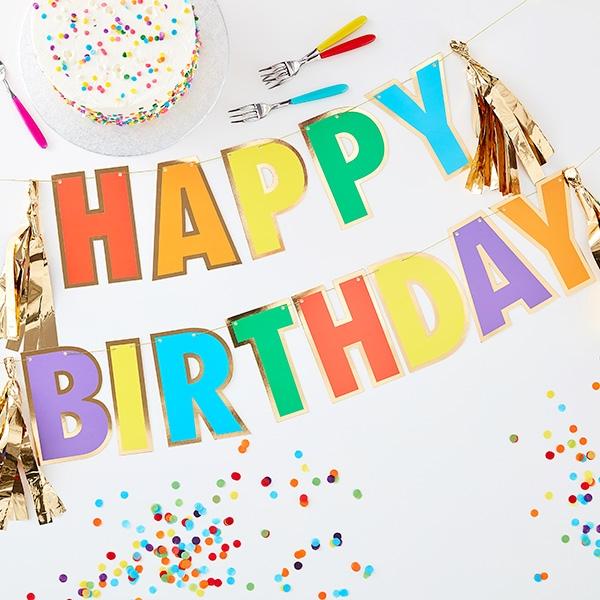 """""""Happy Birthday"""" Girlande, 3m"""
