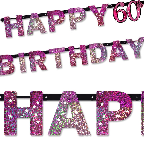 Sparkling Celebr. Pink Zahl 60 Happy Birthday-Kette, 2,13m