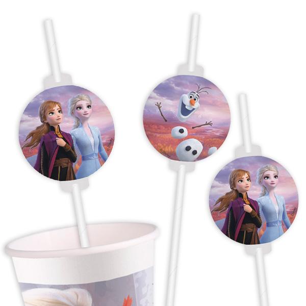 Frozen 2 - Trinkhalme mit Motiv, 6er Pack