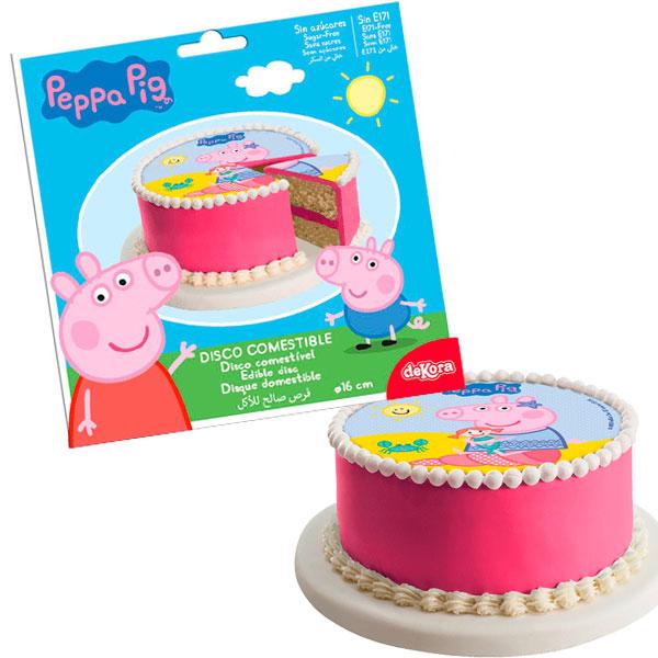 Peppa Pig - Tortenaufleger aus Zuckerguss, 1 Stk, Ø 16cm