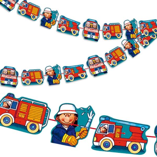 Partygirlande mit kleinem Feuerwehrmann, 3m, 4 Motive aus Pappe/Nylon