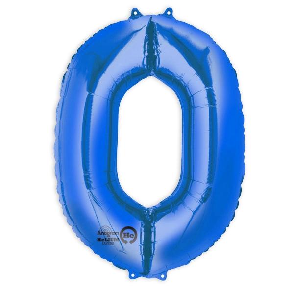 """Folienballon Zahl """"0"""" in  Blau für runden Geburtstag, 1 Stück, 88×63cm"""