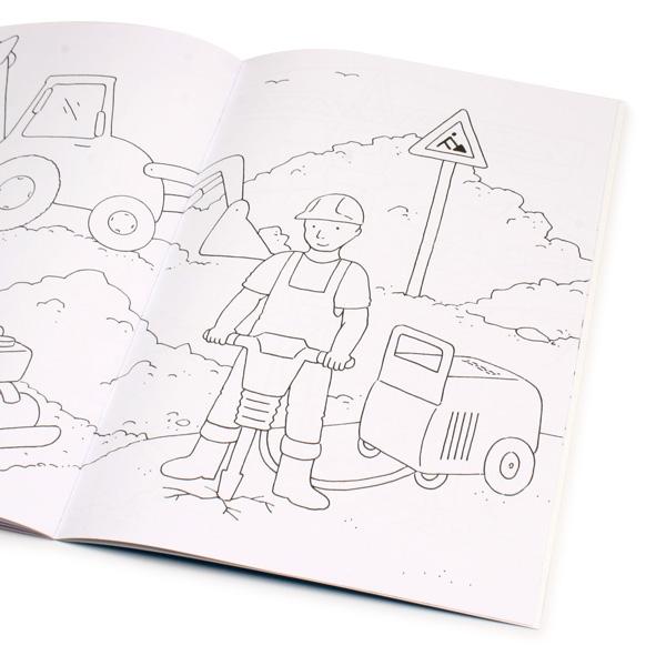 Malbuch Baustelle 32 S., Ausmalbuch mit Baggern, Kränen & Bauarbeitern