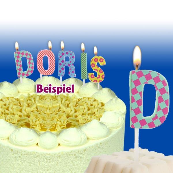 Mini Kerze Buchstabe D, 2,5cm, zum Kombinieren für Namen auf der Torte