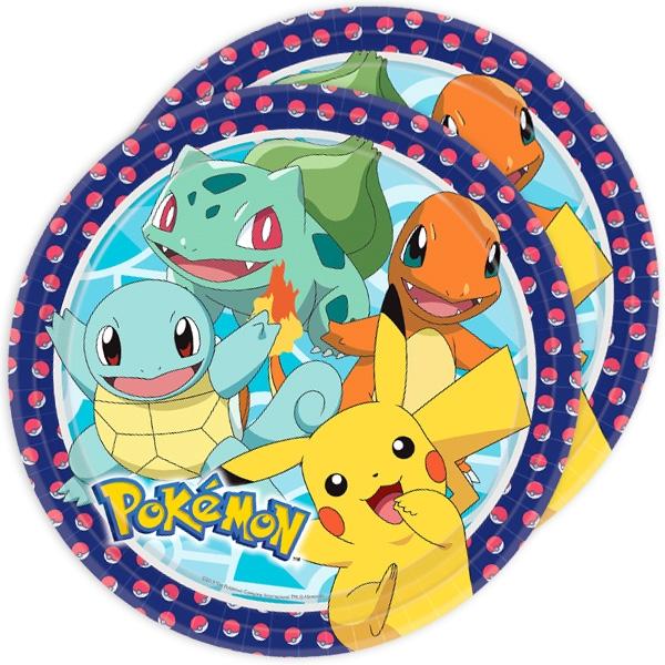 Partyteller Pokemon, 8 Stk., Ø 23cm