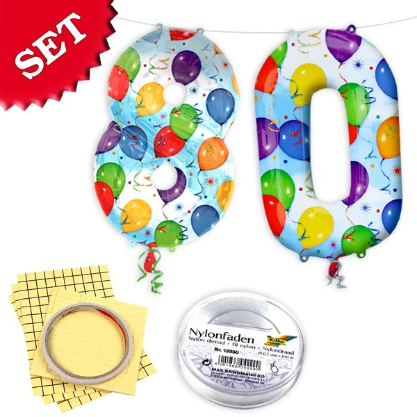 XXL Folieballons Zahl 80