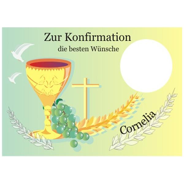 Fototorten Aufleger für Konfirmation mit Foto und Name, rechteckig, ZA3