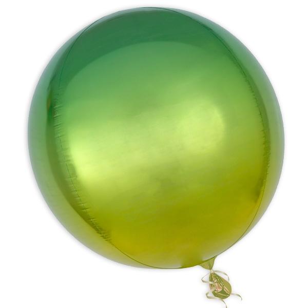 """Orbz"" Folienballon in Gelb-Grün, kugelrund, Ø 38cm"