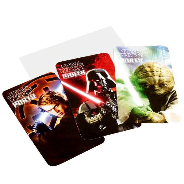 Star Wars Einladungskarten 6er Pack mit Umschlägen, jedes Motiv 2 Mal