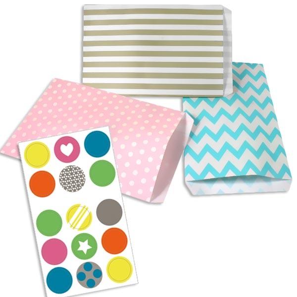 15 Flachbodenbeutel für liebevolles Verpacken plus 15 Sticker, 20cm x 13cm