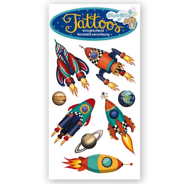 Weltall Raketen - Temporäre Tattoos, 1 Tattookarte, 10,5x5,6cm