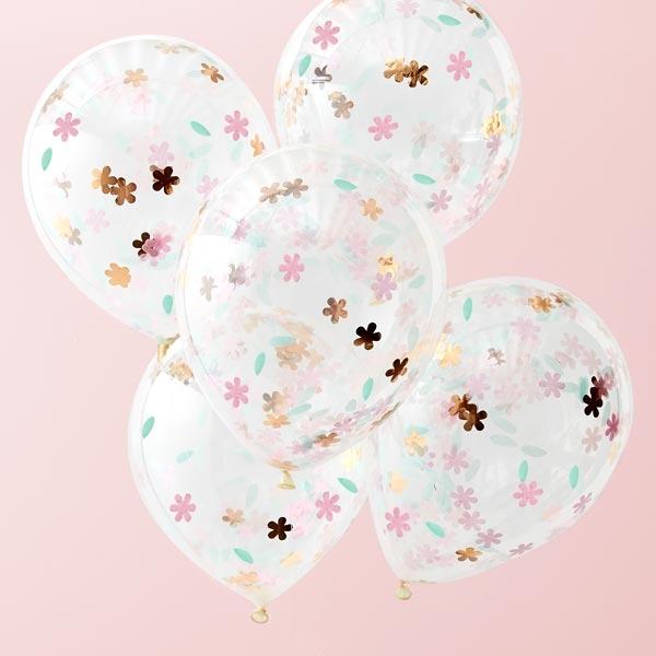Blumen-Konfetti-Ballons in rosegold & pink, 5 Stück