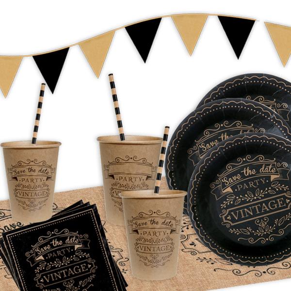 Vintage Partyset, 10 Gäste, 62-tlg, Design wie in der guten alten Zeit