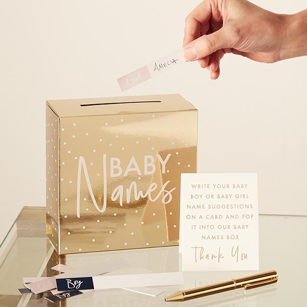 Babynamen-Box mit 60 Namenskärtchen