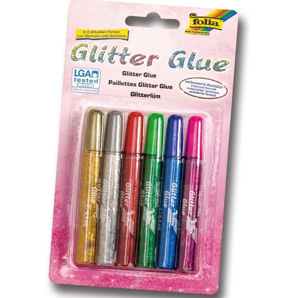 Glitter-Glue, 6 Stifte, Glitzerkleber in sechs versch. Farben